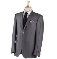 NWT $2295 CANALI Gray and Light Gray Striped Wool-Silk Suit 40 R (Eu 50)