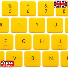 English UK Replacement Yellow Keyboard Stickers & Black Letters Laptop Notebook