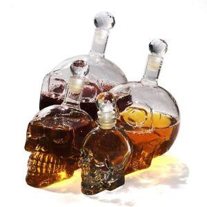 Glass Skull Head Whiskey Decanter Crystal Wine Vodka Shot Bottle Drinking