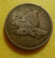 1858 SL   Flying Eagle  Cent  Coin  #58-10    Small Letter