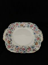 "Exquisite Staffordshire ""Springtime"" Crown China Cake Plate Excellent Condition"