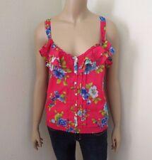 Hollister Womens Floral Tank Top Shirt Size Medium Blouse Hot Pink Ruffles