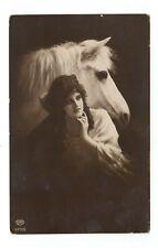 White Horse and  Girl Vintage Postcard EAS 05217/2
