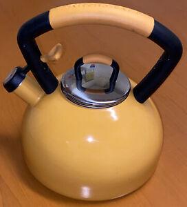 KitchenAid 2.25 Quart Enamel On Steel Whistle Tea Kettle Goldenrod Yellow EUC!