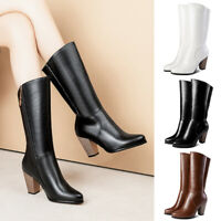 New Womens Pointed Toe Side Zip Up Chunky High Heel Mid Calf Boots Dress Shoes