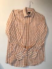 Hugo boss men shirt plaid orange coral size M