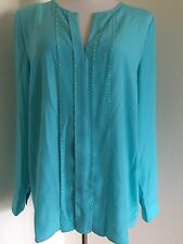 New Michael Kors Turquoise Studded Blouse Shirt Women's Sz 10  $99.50