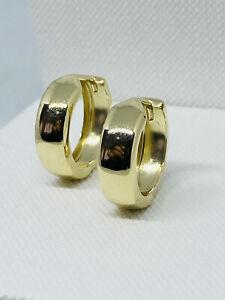 Genuine Solid 9ct Yellow Gold Men&Woman Plain Gold Huggie Hoop Earrings -15mm