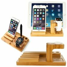 Wooden Desktop Stand Holder Charger Docking Station For Apple iWatch iPhone iPad