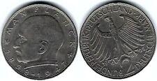 Münze 2 Deutsche Mark (2 DEM) Max Planck 1965 J  BRD KM# 116, J# 392, Schön# 115