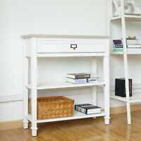 Console Table Sideboard Table w/ Drawer and 2 Tier Storage Shelf Entryway White