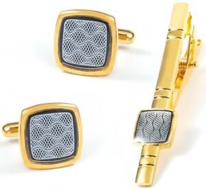 GOLD CUFF LINKS TIE CLIP PIN SHIRT BESTMAN WEDDING FAVOUR GIFT BOXES NEW UK GL11
