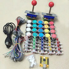 Arcade DIY parts for 2 players with joysticks, PC PS3 USB Encoder and LED button