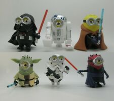 6 Minions Figures Star Wars R2-D2 Yoda Darth Vader Maul Stormtrooper Jedi Knight