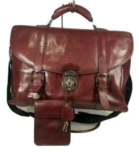 El Portal Tumi Saddle Leather Messenger Travel Briefcase Laptop Shoulder Red