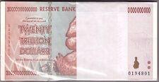 100x 20 TRILLIONS ZIMBABWE DOLLARS AA 2008 uncirculated MONEY (BUNDLE) 50 10