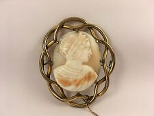 Antique Gold Pinchbeck Victorian Carved Shell Cameo Brooch