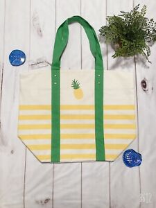 Tommy Bahama Pineapple Striped Reusable Canvas Tote Bag XL Beach Travel Picnic