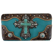 Western Cross Country Handbag Tooled Leather Purse Women Shoulder Bag Wallet Set