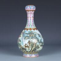 "Old Porcelain Chinese qianlong marked famille rose Pine deer pattern Vases 11.4"""
