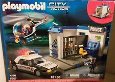 PLAYMOBIL CITY ACTION-5607-POSTE DE POLICE AVEC AUTO + HELICOPTERE-NEUF-SUPERBE!