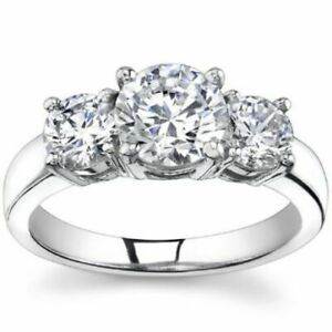 14K White Gold C&C Certified 0.95CT Forever One 4 Prong 3-Stone Ring  SIZE 5