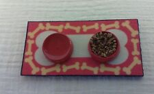 Dollhouse Miniature Dog dishes on printed mat - food & pretend water handcrafted