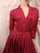PUR  VINTAGE 50 ROBE SATINETTE ROUGE NOIR  38/40  VTG  DRESS ref 402