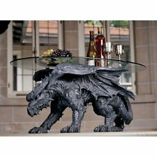 Fantasy Art Sculpture Warwickshire Medieval Dragon Glass Topped Coffee Table