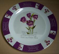 Plateau mélamine rond 35,5cm fleurs, blanc, violet