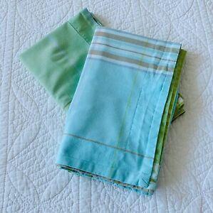 Pottery Barn Pair Madras Plaid Standard Pillow Shams ~ Blue Green Tan Fun