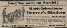OSNABRÜCK, Werbung / Anzeige 1913, H.W.Dreyer Fabrik-ReinigungKartoffelsortierer