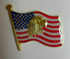 USA Flag with Gold Eagle Head Leather Jacket or Hat Tack Lapel Pin Great Biker
