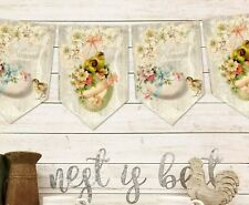 Vintage Victorian Style Easter Chick Cream Floral Bunting & Ribbon
