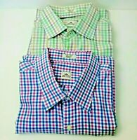 Peter Millar Men Plaid Check Dress Shirts Cotton Size XL, Lot of 2, Green & Blue