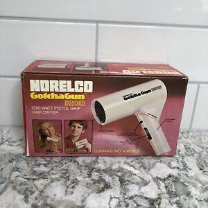 Norelco Gotcha Gun 1200 Hair Blow Dryer White Foldable 1978 Vintage