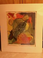 Jane mingenbach parrot ll print woodblock art painting signed autographed