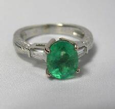 2.21ct Estate Vintage Emerald Diamond Engagement Ring Platinum & 18K gold