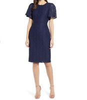 RACHEL PARCELL Flutter Sleeve Lace Sheath Navy Blue Dress XL Office  NWT