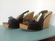 NEXT SIZE 8 BROWN LEATHER WOOD WEDGE HEEL SANDLE SHOES HOLIDAY PARTY CRUISE FAB