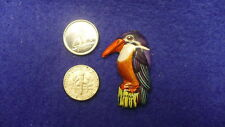 Tin type brooch pin Kingfisher bird lithographed stamped Japan