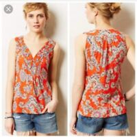 Akemi Kin Anthropologie Hauraki Orange V-Neck Paisley Print Tank Top Sz XS
