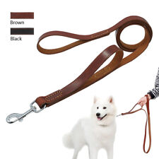 Leather Dog Leash with Dual 2 Handles Extra Long Lead Easy Control Black Brown