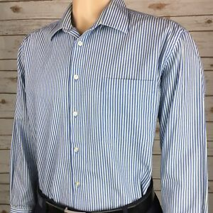 Joseph Abboud Men's Striped Blue / Green Slim Fit Dress Shirt 17 32/33