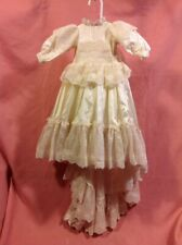 Vintage Infant/toddler/doll? Girl's DRESS (Flower Girl?) Yellow with a train