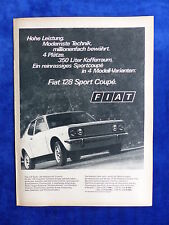 Fiat 128 Sport Coupe - Werbeanzeige Reklame Advertisement 1973 __ (703