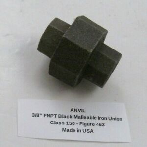 """ANVIL 3/8"""" FNPT Black Malleable Iron Union (Class 150) Made in USA - Figure 463"""