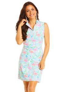 IBKUL Flamingo Mock Neck Sleeveless Dress Turq/Pink XS S M L XL Golf UPF 50