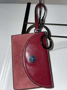 Lodis Maroon Suede Keychain Wallet