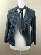 CAbi Women's Blazer Small Striped Blue Open Front Tie Neck Draped Front